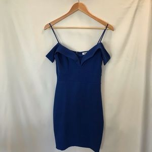 Royal Blue Off the Shoulder Mini Dress - Size M